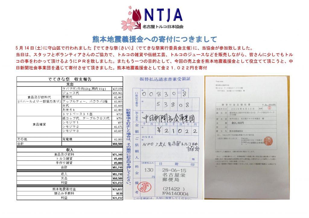 熊本地震義援金への寄付についてのお知らせ
